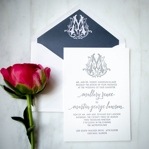 Classic Monogram Letterpress Wedding Invitations