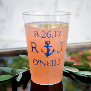 Personalized Nautical Hard Plastic Cups