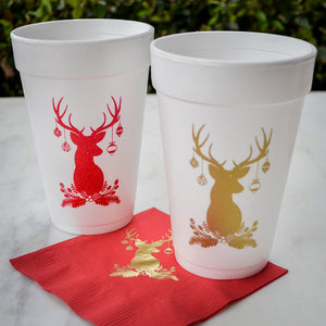 Christmas Styrofoam Cups - Set of 10