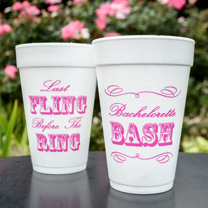 Bachelorette Bash Styrofoam Cups - Set of 10