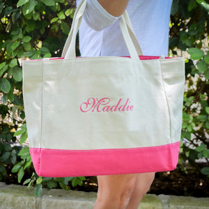 Custom Canvas Color Block Tote