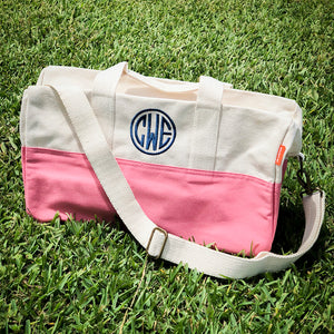 Personalized Canvas Color Block Duffel