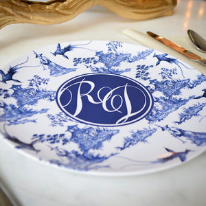 Blue and White Chinoiserie Monogrammed Melamine Plates