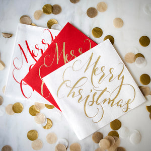 Merry Christmas Linen-Like Napkins - Set of 25
