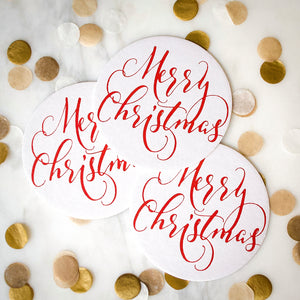 Merry Christmas Coasters - Set of 10