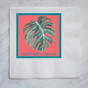 Custom Full Color Monstera Leaf Napkins