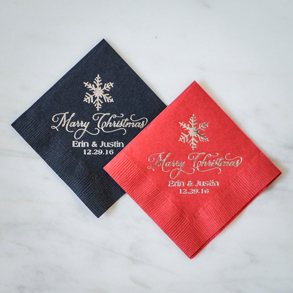 Christmas Napkins.Customized Snowflake Christmas Napkins