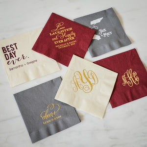 Custom Fall Wedding Beverage Napkins