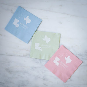 Custom Long Distance Wedding Napkins