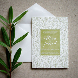 Green Leaf Personalized Letterpress Wedding Invitations