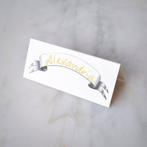 Vintage Banner Tented Place Cards - Set of 12