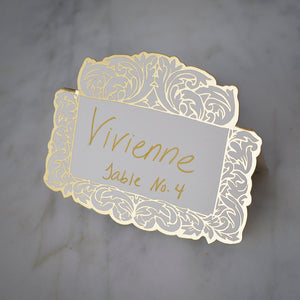 Gold Flourish Die-Cut Place Cards - Set of 12