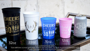 Personalized Sip Sip Hooray Stadium Cups