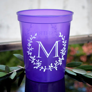 Custom Initial Wreath Plastic Stadium Cups