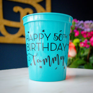 50th Birthday Party Favor Stadium Cups