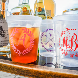 Custom Monogram with Wreath Plastic Stadium Cups