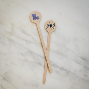 Custom Heart Initial Wooden Stir Sticks