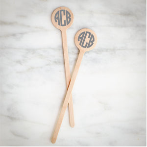 Custom Circle Monogram Wood Stir Sticks