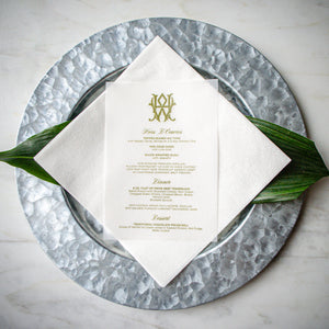 Vellum Wedding Menu