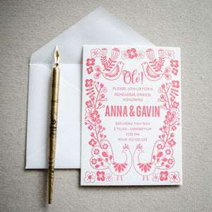 Customized Mexican Fiesta Letterpress Invitations