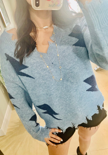 Lightning blue sweater