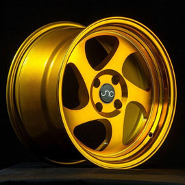 JNC 034 15X8.25 4X100 +20 TRANSPARENT GOLD GOLD RIVETS Wheel/Rim