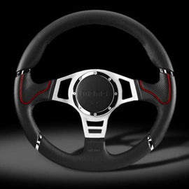 MOMO MILLENIUM SPORT 350MM STEERING WHEEL BLACK LEATHER WITH SILVER SPOKE AND RED ACCENT