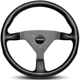 MOMO MONTE CARLO 320MM STEERING WHEEL BLACK LEATHER W/BLACK SPOKE & BLACK STITCH