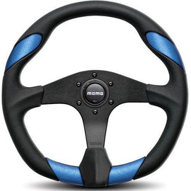 MOMO QUARK STEERING WHEEL 350MM BLACK/BLUE UNIVERSAL