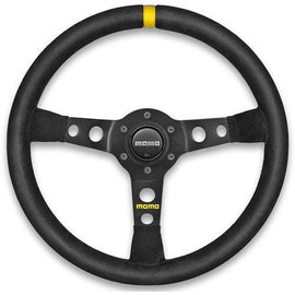 MOMO MOD 07 STEERING WHEEL 350MM BLACK LEATHER UNIVERSAL