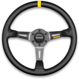 MOMO MOD 08 STEERING WHEEL 350MM BLACK LEATHER UNIVERSAL
