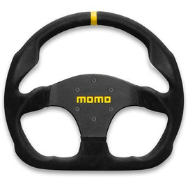 MOMO MOD 30 STEERING WHEEL BLACK SUEDE/BLACK SPOKE 320MM UNIVERSAL