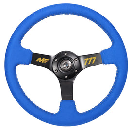 NRG MATT FIELD FORMULA DRIFT BLUE ALCANTARA BASEBALL STITCHING 350mm STEERING WHEEL