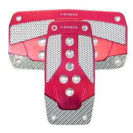 NRG Aluminum Sport Pedal Red w/ Silver Carbon AT
