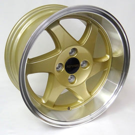 RYVER SAWBLADES 15X8 +20 4X100 GOLD W/POLISH LIP Rim / Wheel
