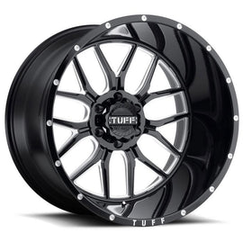 TUFF T-23 22x14.0 5/127 ET-76 CB71.6 GLOSS BLACK W/ MILLED SPOKES AND DIMPLES