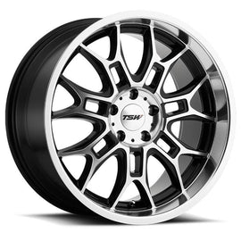 TSW YAS 20x8.5 5/120 ET35 CB76.1 GLOSS BLACK W/MIRROR CUT FACE AND LIP
