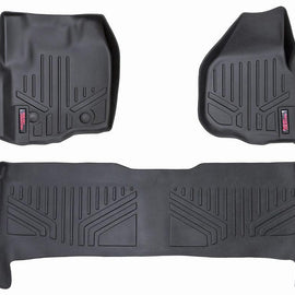 Rough Country Heavy Duty Floor Mats - Front & Rear Combo (Crew Cab Models w/ Raised Pedal)