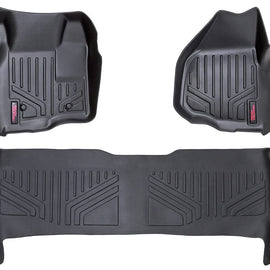 Rough Country Heavy Duty Floor Mats - Front & Rear Combo (Crew Cab Models w/ Depressed Pedal)