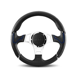 MOMO MILLENIUM SPORT 350MM STEERING WHEEL BLACK LEATHER WITH SILVER SPOKE AND BLUE ACCENT