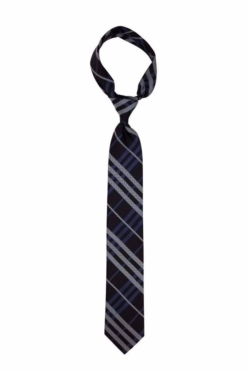 Black and Navy Plaid Pre-tied Tie, Tie, GoTie