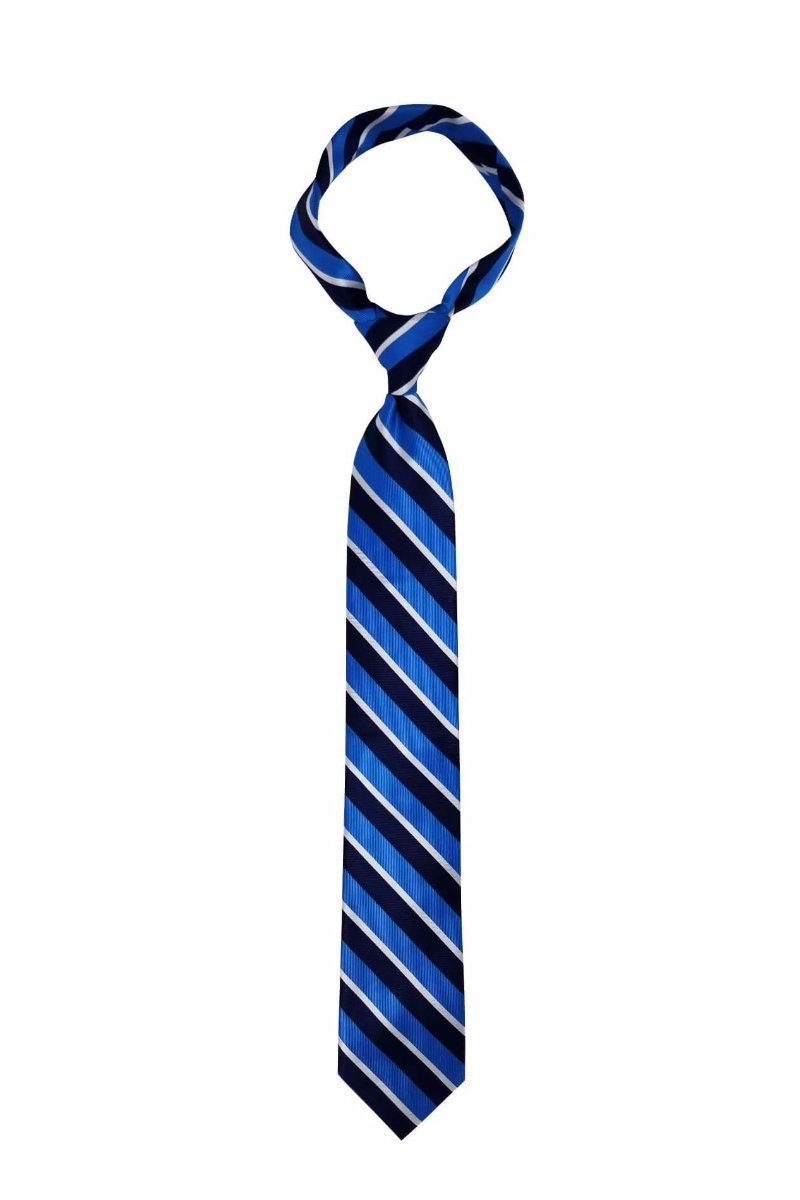 Blue Navy Traditional Striped Pre-tied Tie, Tie, GoTie