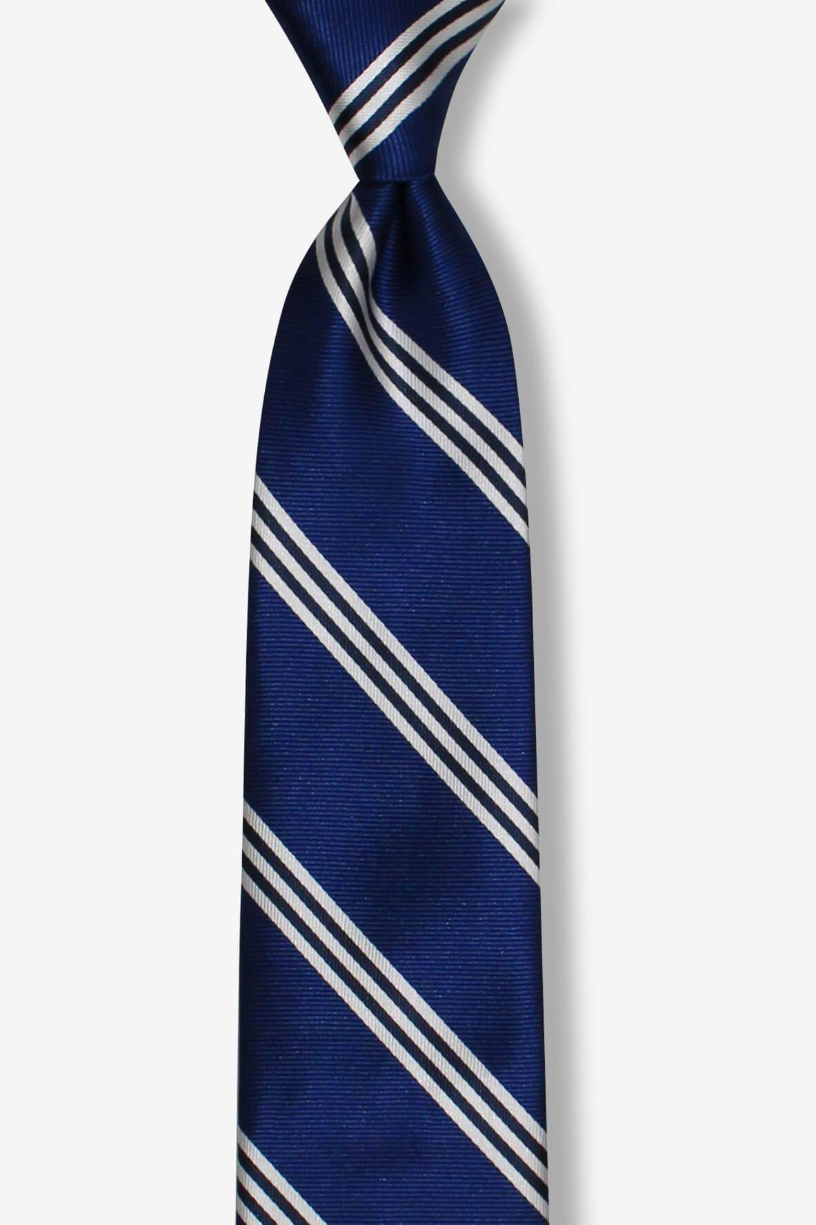 Blue Three Silver Striped Skinny Pre-tied Tie, Tie, GoTie