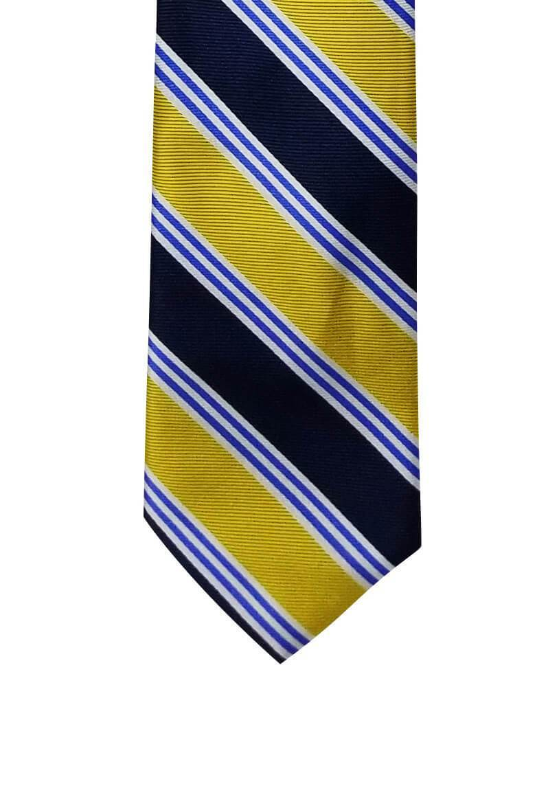 Blue Yellow Striped Pre-tied Tie, Tie, GoTie