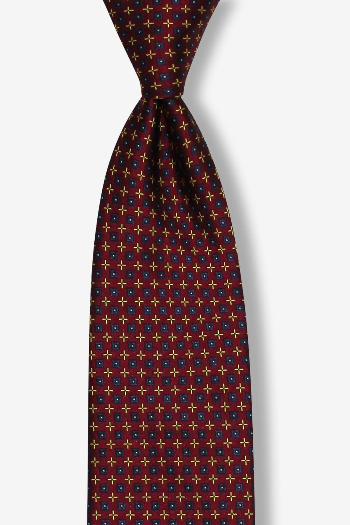 Burgundy Gold and Navy Geometric Pre-tied Tie, Tie, GoTie