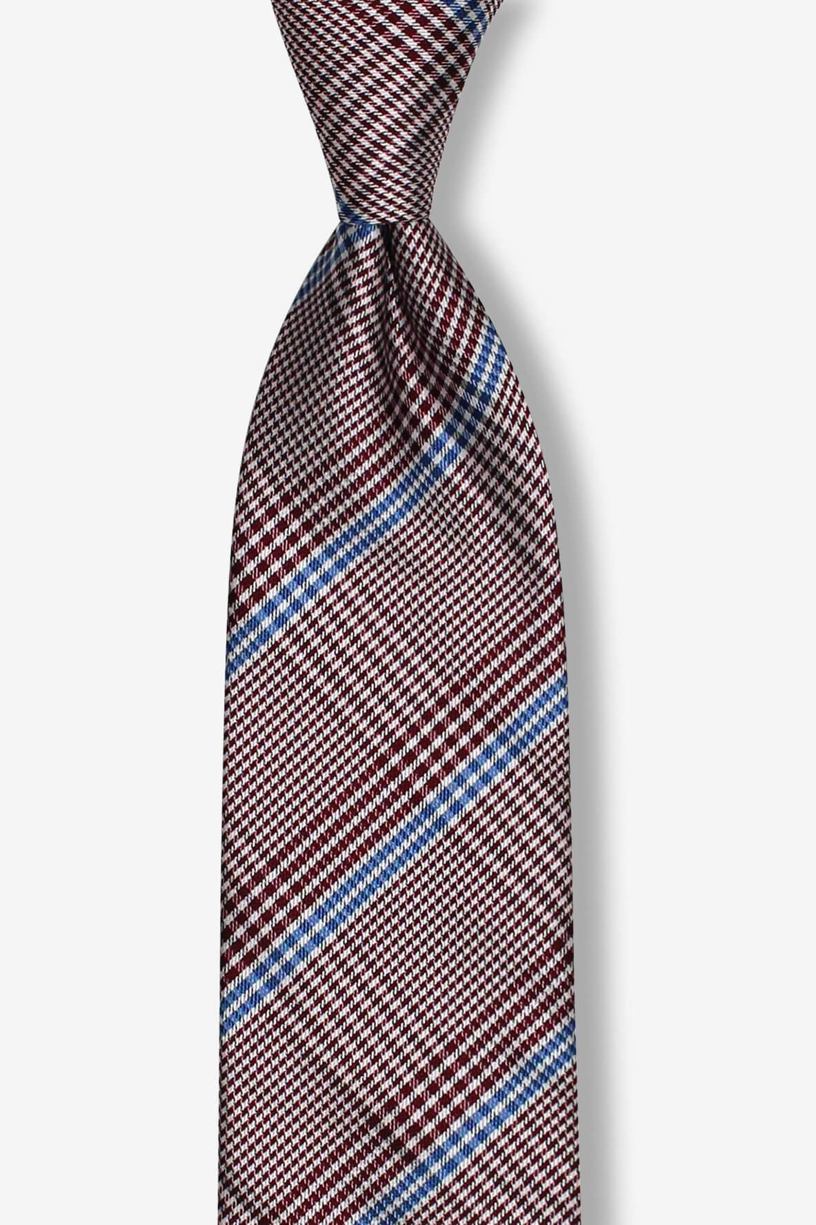 Burgundy with Blue Striped Skinny Pre-tied Tie, Tie, GoTie