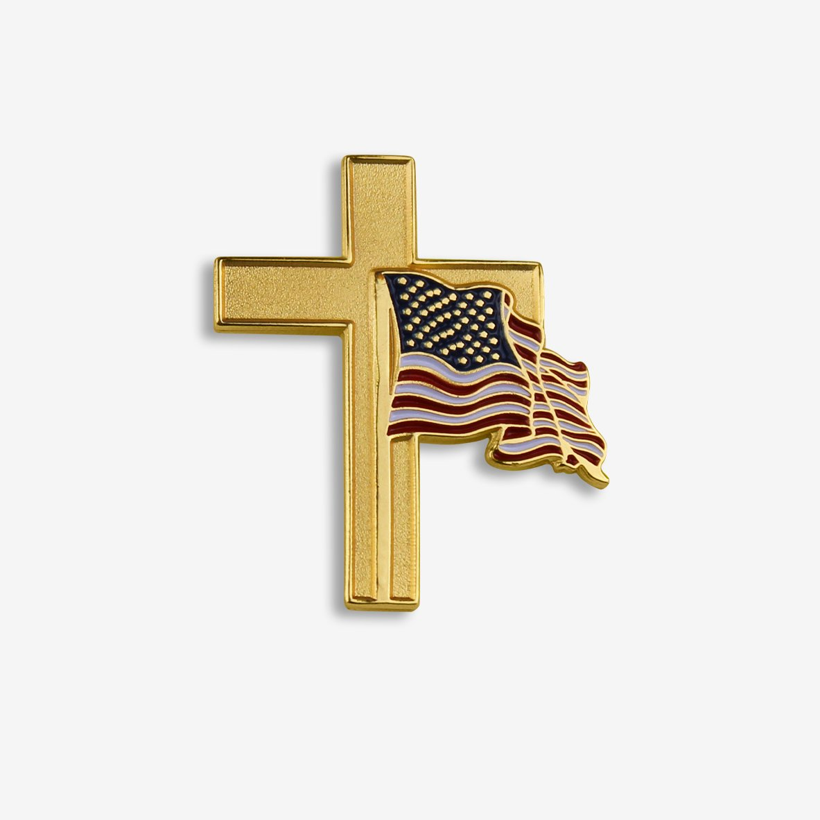Gold Cross With Waving American Flag