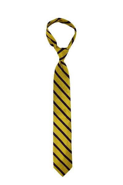 Gold Red Checkered Striped Pre-tied Tie, Tie, GoTie