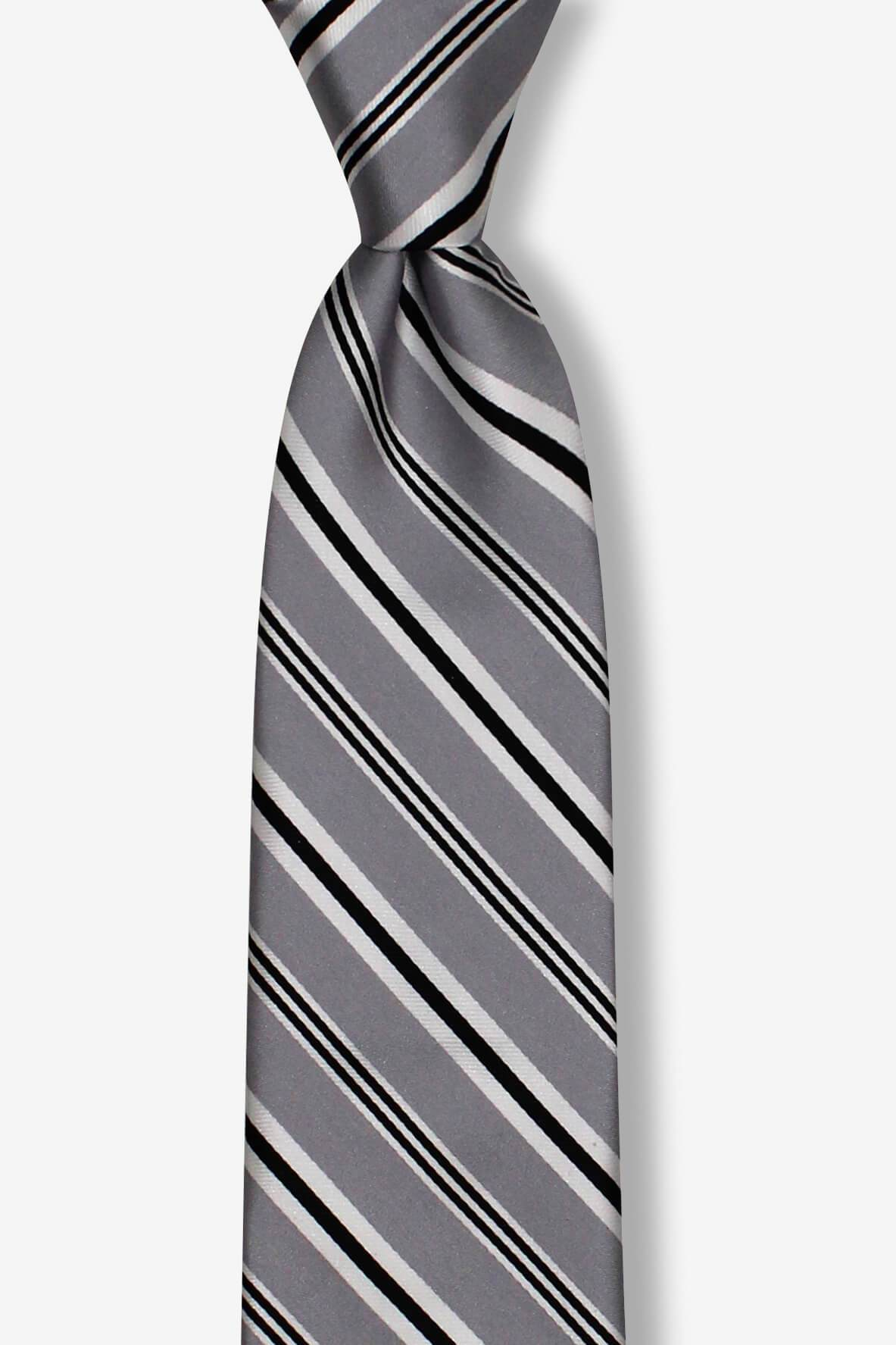 Gray Black Thin Striped Skinny Pre-tied Tie, Tie, GoTie