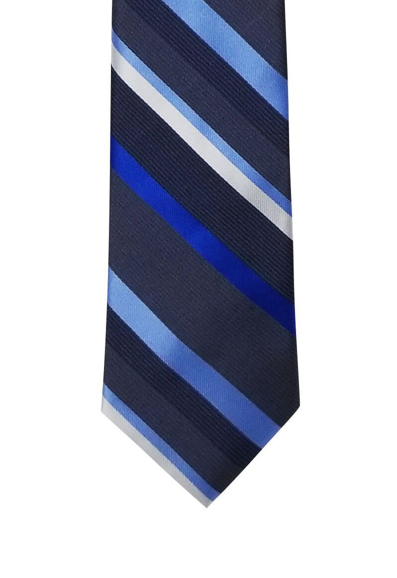 Gray with Multi-Blue Striped Skinny Pre-tied Tie, Tie, GoTie